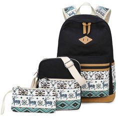 XQXA Canvas Backpack Women Casual Daypack Deer Printing Notebook Computer  Backpacks School Bag for Girls Rucksack 611a455b76