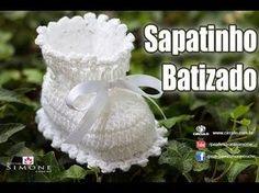 Sapatinho de Crochê Batizado - #crochet Passo a passo #ProfessoraSimone - YouTube