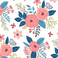 Vintage Antique Floral Flowers with Navy Blue Leaves fabric by caja_design on Spoonflower - custom fabric Floral Fabric, Floral Flowers, Fabric Flowers, Floral Prints, Florals, Lino Prints, Green Fabric, Block Prints, Flower Patterns