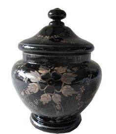 Very Pretty Vintage Black Amethyst Glass Urn made in Czechoslovakia with silver (likely sterling) metal overlay