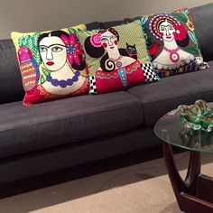 Gorgeous, quirky and bright embroidered Frida Kahlo inspired cushions will make a statement in any room! Available in store and online at www.romulusandthegypsy.com.au Link in bio.