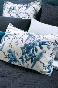 Plumiere Indigo Pillowcase   Bianca Lorenne NZ