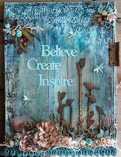 Birds Michelle Grant desiGns: Canvas Believe, Create, Inspire Mixed Media Journal, Mixed Media Canvas, Mixed Media Collage, Collage Art, Altered Canvas, Multimedia Arts, Mixed Media Techniques, Wow Art, Wall Decor