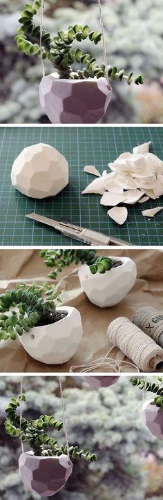 Tutoriel DIY: Fabriquer une suspension florale avec motif à facettes via…