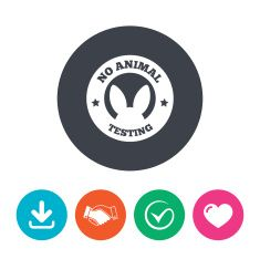 No animals testing sign icon. Not tested symbol vector art illustration