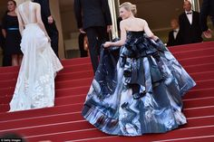 Style insiders had expected Cate to step out in an Armani creation, however, she reportedly had a change of heart over the weekend after seeing the breathtaking galaxy dress by British designer Giles Deacon. The actress is said to have told friends: 'I want to wear that, it's fabulous.' The magnificent, space-print gown is from the Darlington-born designer's autumn/winter 2015 collection