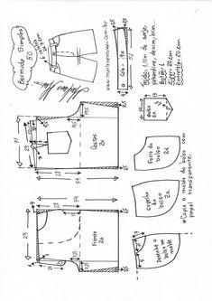 Bermuda simples – Marlene Mukai Sewing Shorts, Sewing Clothes, Dress Sewing Patterns, Clothing Patterns, Fashion Sewing, Diy Fashion, Como Fazer Short, Pattern Drafting, Pants Pattern