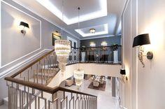 Nástěnná svítidla s textilními stínítky doplňuje LED osvětlení ve stropních lištách.