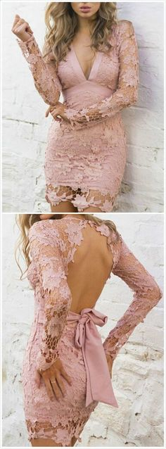 Sexy Pink Lace Mermaid Homecoming Dresses,See Through Long Sleeves Prom