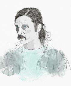Isaac González | True Detective. Vector portrait, illustrator, wacom, illustration, Rust.
