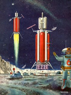 Find images and videos about retro space on We Heart It - the app to get lost in what you love. Arte Sci Fi, Sci Fi Art, Science Fiction Kunst, Illustration Arte, Les Reptiles, Classic Sci Fi, Vintage Space, Man On The Moon, Googie
