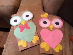 valentines day brown paper bag crafts for kids | Kreative Bastelprojekte mithilfe Bastelvorlagen für Herbst mit Eule ...