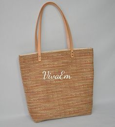 Shoulder Bag With Leather Straps. Tote Bag Market by VivaEmGifts