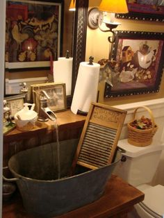 I love this Primitive Bathroom Sink. This example is super cluttered but I love the big metal tub sink and lifted faucet. Prim Decor, Country Decor, Rustic Decor, Primitive Decor, Country Primitive, Country Style, Rustic Room, Country Farmhouse, French Country