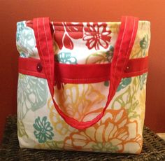 Floral+Red+6+pocket+Weekend+Tote+by+VermontTotes+on+Etsy,+$32.00
