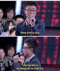 """23 Times Chinese Dating Shows Were Savage And Hilarious - Funny memes that """"GET IT"""" and want you to too. Get the latest funniest memes and keep up what is going on in the meme-o-sphere. Short People Memes, Short People Problems, Short Girl Problems, Funny People, Short Girl Memes, Short Girls, Smart People, Funny Texts To Send, Funny Text Memes"""