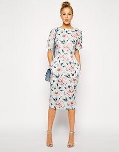 ASOS PETITE Wiggle Dress in Pastel Floral Print