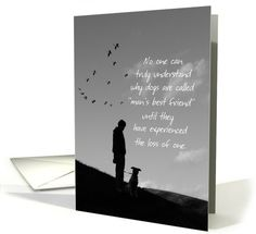 Sympathy Card- Loss of Pet Dog. A sweet silhouette of a man with his dog on top of a hill,  as a small flock of geese fly by in the setting sun. A beautiful card for a man or boy who has lost his best friend.  Verse and photograph by Liz Mountain Designs.