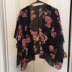 Like Brandy Melville Floral kimono NWOT Not Brandy but just like it in black. Thin. Loose. Never worn Other