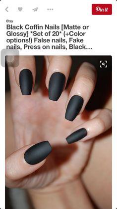 Black Coffin Nails Matte Or Glossy Set Of Color Options False Fake Press On