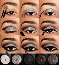 Cool! :) | Gray Eyeshadow, Smokey Eyeshadow Tutorial, Silver Eyeliner, How To Eyeshadow, Eyeshadow Steps, Eyeshadow Tutorials, Eyeshadow Guide, Eyeshadow Techniques, Makeup Tips