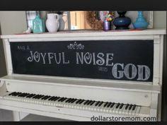 White with chalkboard joyful noise painted piano