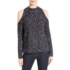 Women's Rebecca Taylor Cold Shoulder Boucle Pullover ($350) ❤ liked on Polyvore featuring tops, sweaters, black combo, cut-out shoulder sweaters, cut out sweater, open shoulder tops, rebecca taylor tops and cut out shoulder sweater