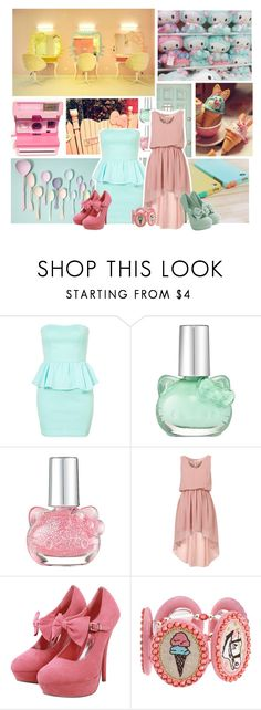 """Hello my kitty... i mean PRETTY"" by liz-wade ❤ liked on Polyvore featuring Hello Kitty, Oh My Love, Tarina Tarantino, platform heels, strapless dresses, high low dresses and hello kitty"
