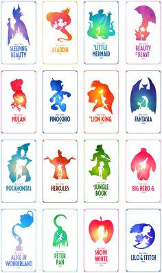 A collection of minimal Disney posters with vibrant, watercolour textures. - Treatment for Eczema Disney Movie Posters, Film Disney, Disney Fan Art, Disney Movies, Disney Art Diy, All Disney Characters, Film Posters, Disney Frames, Disney Collage