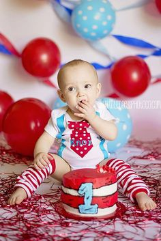BOYS FIRST BIRTHDAY Outfit-M2M Dr. Suess Birthday-Cake Smash-Tie with Suspenders Bodysuit 2 Pc Set-Red White Polka Dot Tie by BetterThanBows on Etsy