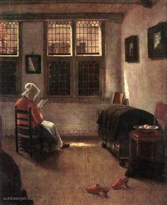 "Painting ""Lezen Woman"" by Pieter Janssens Elinga - www.schilderijen.nu"