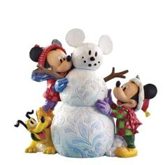 Jim Shore Disney Mickey Mouse Minnie Pluto Snowman New in Box Disney Christmas Village, Mickey Christmas, Magical Christmas, Hades Disney, Mickey Mouse And Friends, Mickey Minnie Mouse, Figurine Disney, Jim Shore Christmas, Estilo Disney