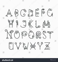 Cute line latin alphabet. Isolated, outline, empty letters for kids design. Polices et Calligraphie Doodle Alphabet, Doodle Art Letters, Handwriting Alphabet, Hand Lettering Alphabet, Alphabet Design, Doodle Lettering, Types Of Lettering, Lettering Styles, Hand Lettering