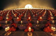 Buddhist monks chant during a lantern-lighting ceremony, part of the celebration of Magha Puja               Los Angeles Times  Feb 7, 2012