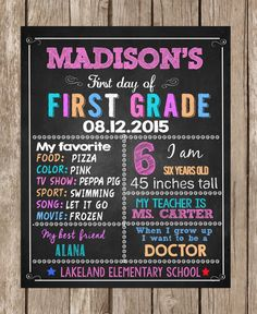 First Day of School Sign Pastel  ANY GRADE  by TheLovelyDesigns