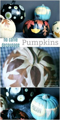 No Carve Decoupaged Pumpkins | Using mod podge and paper cutouts for creative no carve pumpkin decorating | Easy Fall decorating | Easy Halloween Decor | Decoupage leaves on a pumpkin. See the tutorial on TodaysCreativeLife.com