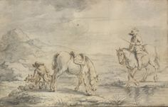 Philips Wouwerman zugeschrieben | Zwei Jäger mit ihren Pferden bei einem Fluss | Mitte 17. Jahrhundert © Albertina, Peter Ertl  #Spurensuche #SearchforTraces #Drawing #GraphicArt #Art