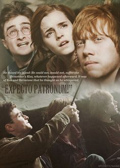 "It was of Ron and Hermione that he thought as he whispered, ""Expecto Patronum!"""