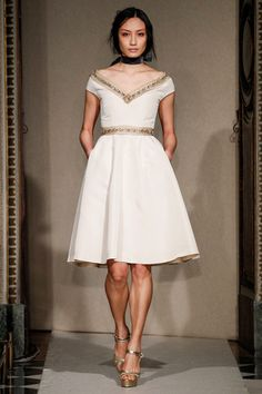 Luisa Beccaria Fall 2014 Ready-to-Wear - classic A line skirt and wide v neck. Perfectly placed beading