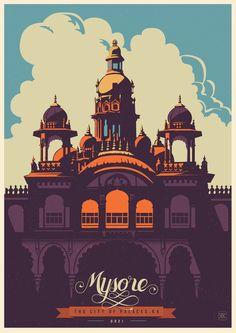 Illustration / Travel Postcards & Posters by ranganath krishnamani, via Behance Art And Illustration, Illustrations Posters, Poster Design, Design Art, Web Design, Print Poster, Design Ideas, Design Graphique, Art Graphique
