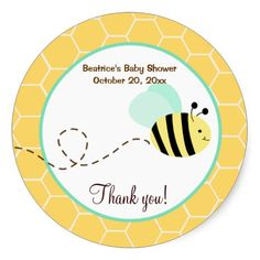 Bumble Bee Round Favor Sticker
