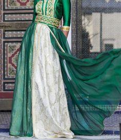 Caftan Marocain VERT ET BLANC