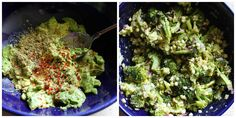 Mashed avocado replaces the mayonnaise in tradition broccoli salad. This plant-based version is crunchy, creamy, flavorful and fresh! Cabbage Wraps, Mashed Avocado, Broccoli Salad, Mayonnaise, Plant Based Recipes, Guacamole, Picnic, Roast, Lunch