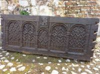 15th Century Antique Oak Carved Coffer Front, Circa 1480