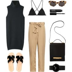 Black and Khaki by fashionlandscape on Polyvore featuring Mode, Acne Studios, Kiki de Montparnasse, The Row, American Apparel, NARS Cosmetics and Hego's