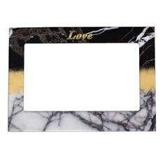 Elegant Black and White Marble with Gold Love Magnetic Photo Frame - marble gifts style stylish nature unique personalize