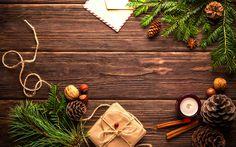 Indir duvar kağıdı Yeni Yıl, 4k, Noel dekorasyon ahşap arka plan, Noel ağacı, Noel