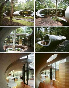 Architecture, Kotaro Ide/ Shell house / beauty of nature Architecture Unique, Futuristic Architecture, Landscape Architecture, Interior Architecture, Biomimicry Architecture, Japan Architecture, Dream Home Design, Modern House Design, Shell House