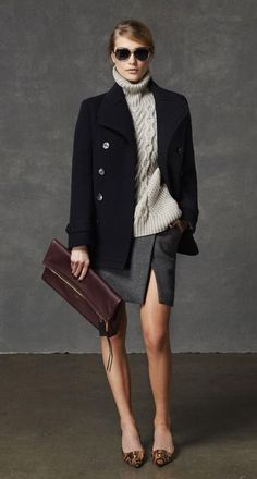 Navy blazer, tan chunky sweater, grey envelope skirt, burgundy oversized clutch, snake print pumps and sunnies.