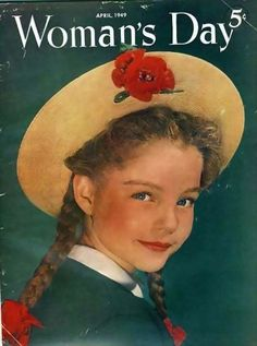 Art from: Woman's Day Girl, straw hat, pigtails, poppies. This is the magazine. Artist: Source: an anonymous contributor Restoration by: magscanner Vintage Advertisements, Vintage Ads, Vintage Images, Vintage Posters, Vintage Travel, Old Magazines, Vintage Magazines, Women's Day Magazine, Magazine Stand